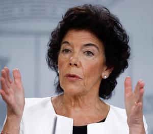 La portaveu del Govern central, Isabel Celaá, ahir després de la reunió del Consell de Ministres a Madrid.