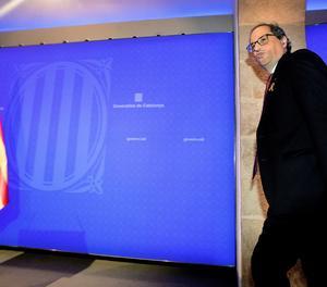 El president de la Generalitat, Quim Torra, abans de la compareixença.