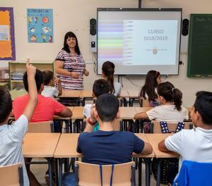 Alumnes en seu primer dia de clase aquest curs.