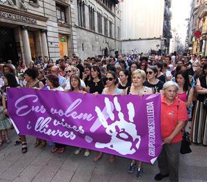 Imatge d'arxiu d'una protesta contra la sentència de La Manada a la plaça Paeria.