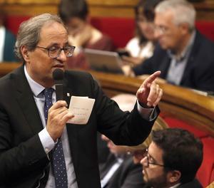 El president de la Generalitat, Quim Torra, durant la sessió de control al Parlament.