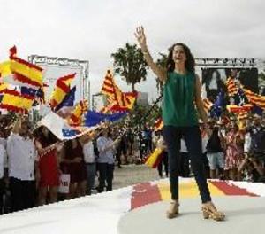 Manifestació per la unitat d'Espanya en el centre de Barcelona