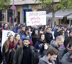 Un moment de la protesta d'estudiants a Lleida.
