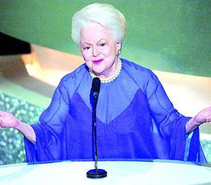 Olivia de Havilland, als Oscars del 2003, llavors amb 87 anys.