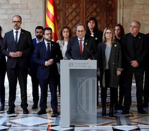 Un moment de la declaració institucional del president Torra el dia del trasllat dels presos independentistes a Madrid
