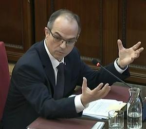 L'exconseller de Presidència de la Generalitat Jordi Turull en un moment de la seua declaració al Tribunal Suprem.