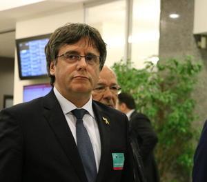 L'expresident de la Generalitat Carles Puigdemont, dilluns passat al Parlament Europeu.