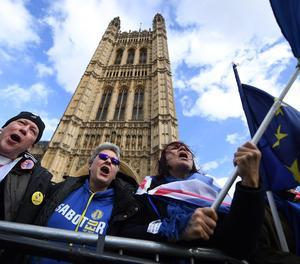 Una protesta a l'exterior del Parlament britànic.