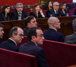 Els acusats del judici del 'procés', en una de les sessions al Tribunal Suprem.