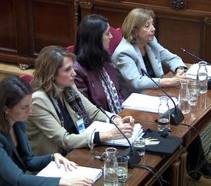 Les pèrites Maria del Carmen Tejera, Sara Izquierdo, Teresa Cecília Hernández i Mercedes Vega declarant al Suprem