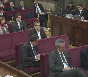 El banc dels acusats del judici del 'procés' al Tribunal Suprem.