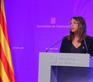 La consellera de Presidència i portaveu del Govern, Meritxell Budó, en un moment de la roda de premsa