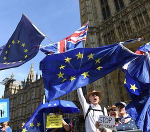 Un grupo de personas se manifiesta frente al Palacio de Westminster, en Londres, en Gran Bretaña, este jueves, por la decisión del primer ministro británico, Boris Johnson, de bloquear el Parlamento