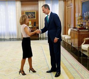 El rei Felip VI rep la presidenta del Congrés, Meritxell Batet,