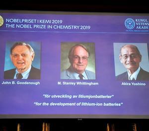 Els desenvolupadors de les bateries d'ions de liti guanyen el Nobel de Química