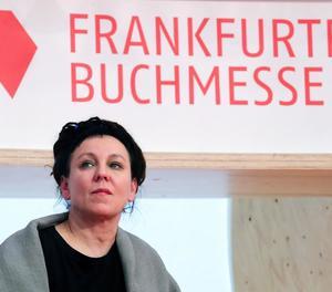La polonesa Olga Tokarczuk, Nobel 2018, ahir a la Fira de Frankfurt.