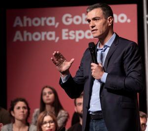 El president del Govern espanyol en funcions, Pedro Sánchez, en un acte aquest dimarts a Huelva.