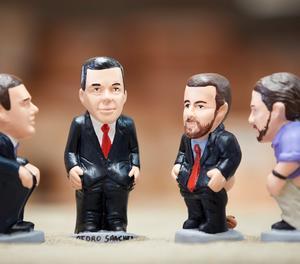 D'esquerra a dreta, les figures d'Albert Rivera, Pedro Sánchez, Pablo Casado i Pablo Iglesias.