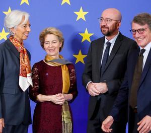 Lagarde, Von der Leyen, Michel i Sassoli, ahir a Brussel·les.