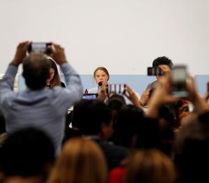 La jove activista sueca Greta Thunberg, aquest dilluns durant la roda de premsa a Madrid.