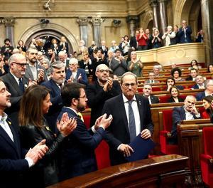 El president Torra, el dia 4 en el ple extraordinari del Parlament en resposta a la resolució de la Junta Electoral Central.