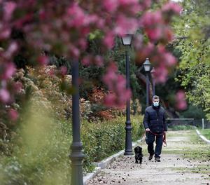 Un home passeja amb el seu gos a Madrid.