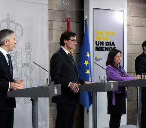Els ministres Fernando Grande-Marlaska, Salvador Illa, Margarita Robles i José Luis Ábalos.