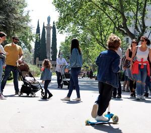 El passeig Sant Joan de Barcelona ahir diumenge.