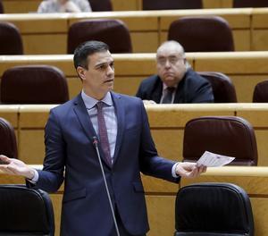 El president del Govern espanyol, Pedro Sánchez, aquest dimarts durant la sessió de control al Senat.