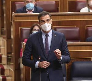 Pedro Sánchez durant una de les intervencions ahir al Congrés dels Diputats.
