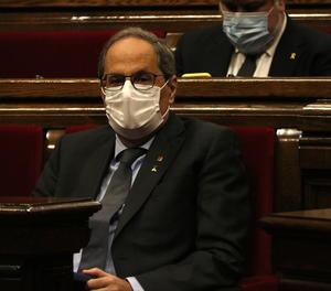 El president del Govern, Quim Torra, durant el debat de política general d'aquest dimecres.