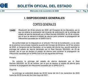 El BOE publica la pròrroga de l'estat d'alarma fins el 9 de maig