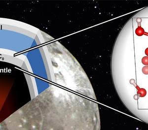 Il·lustració que recrea on es troba el nou material descobert a 'Garmínedes', una de les llunes gelades de Júpiter