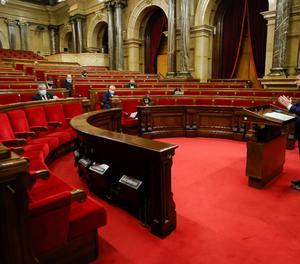 El vicepresident del Govern, Pere Aragonés, durant la seua compareixença davant la Diputació Permanent del Parlament