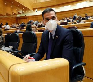 El president del Govern espanyol, Pedro Sánchez, ahir, a la sessió de control al Senat.