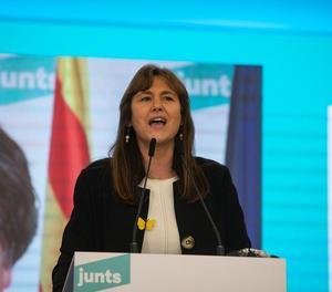 La candidata de JxCat, Laura Borràs, en una intervención después de conocer los últimos resultados electorales