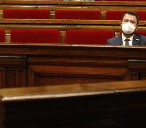Pere Aragonès, ahir a la sessió de control al Parlament.