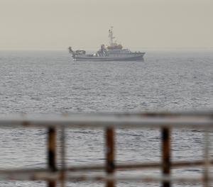 El vaixell de l'Institut Espanyol d'Oceanografia (IEO) Ángeles Alvariño aquest dijous durant el rastreig