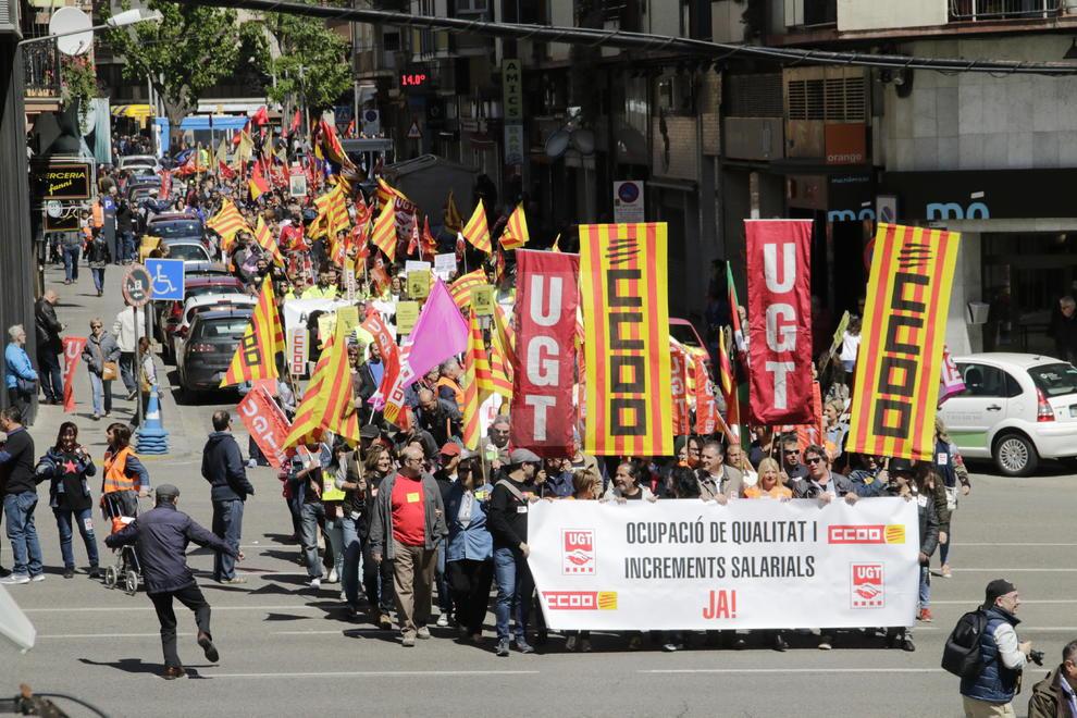 Manifestacions del Primer de Maig per un salari digne i una feina estable