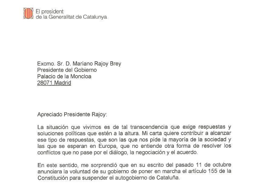 DOCUMENT. Consulta la carta de Puigdemont a Rajoy sobre la declaración de independencia