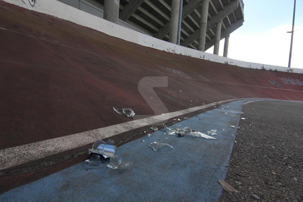 Imatges de l'estat actual del velòdrom de Lleida