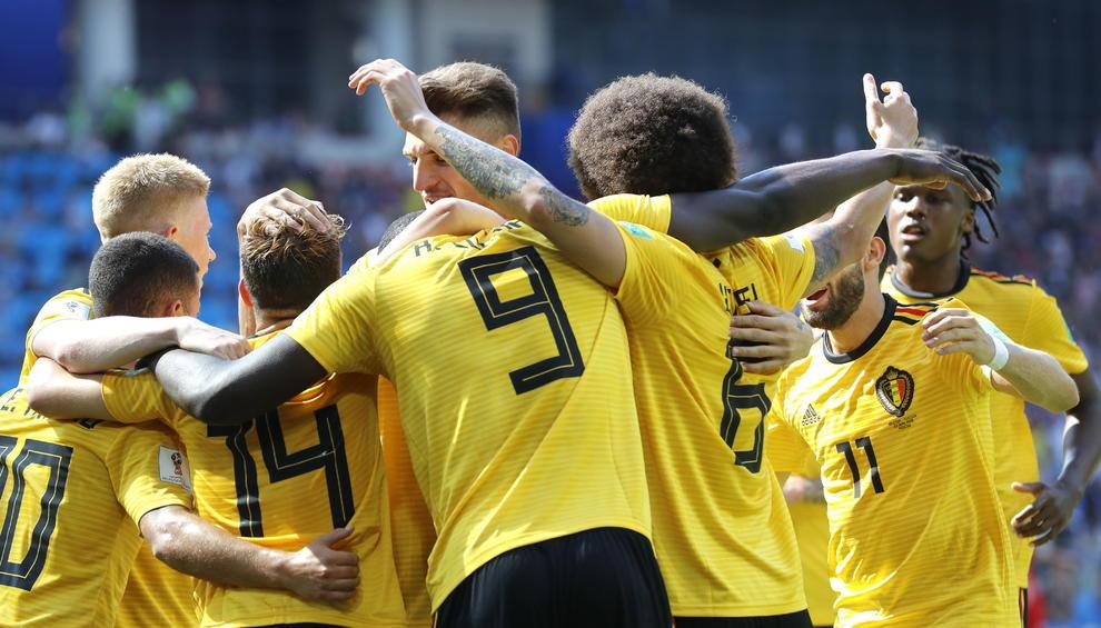 Els jugadors belgues celebren el gol de Romelu Lukaku 989b110382b12