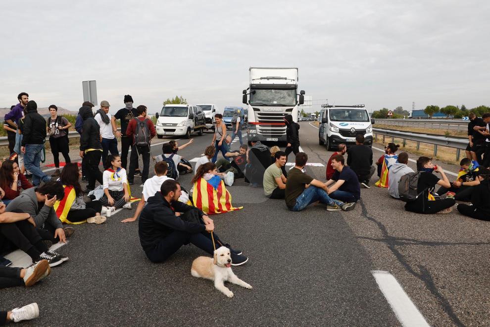 El tall de l'autovia A-2 a Lleida aquest divendres de vaga general a Catalunya.
