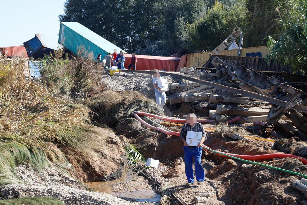 Desenes de persones desvalisen el tren accidentat de Continental Rail a Puigverd de Lleida